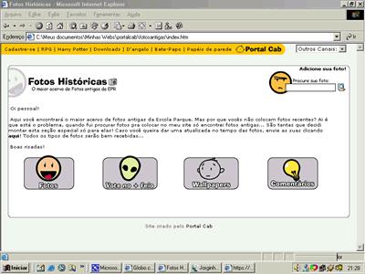 Screenshot do PortalCab no século passado (ou quase)